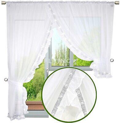 Balkon Balkontür Gardine 400/250 weiß Strass Fenstergardine Voile Terrasse 3 tlg