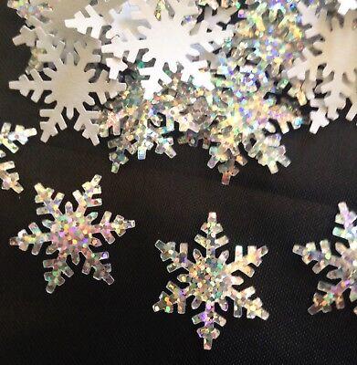 Lot 50 STICKERS Martha Stewart Alpine Snowflake Silver Glitter Paper Punch Xmas