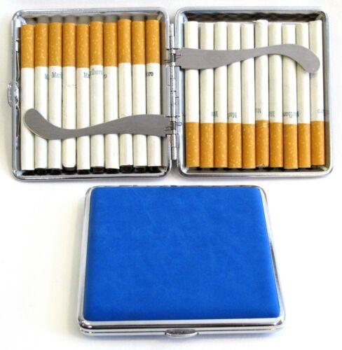 2pc Set Stainless Steel Cigarette Case Hold 20pc Regular Size 84s - BLUE + BLACK