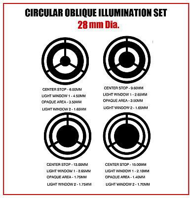V00. Circular Oblique Illumination Col Microscope Filter Set 28mm