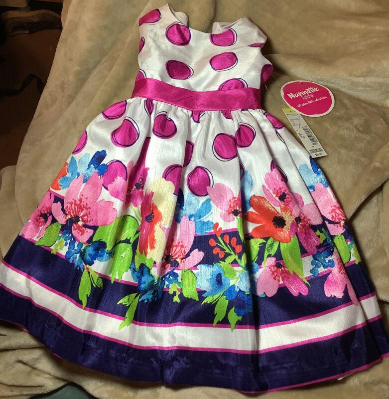 Nanette Kids Toddler 2T Floral Heart back Easter Dress Pink, Blue & White NWTs