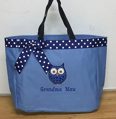 Personalized Baby Diaper Bag Tote Monogrammed Boy Owl ()