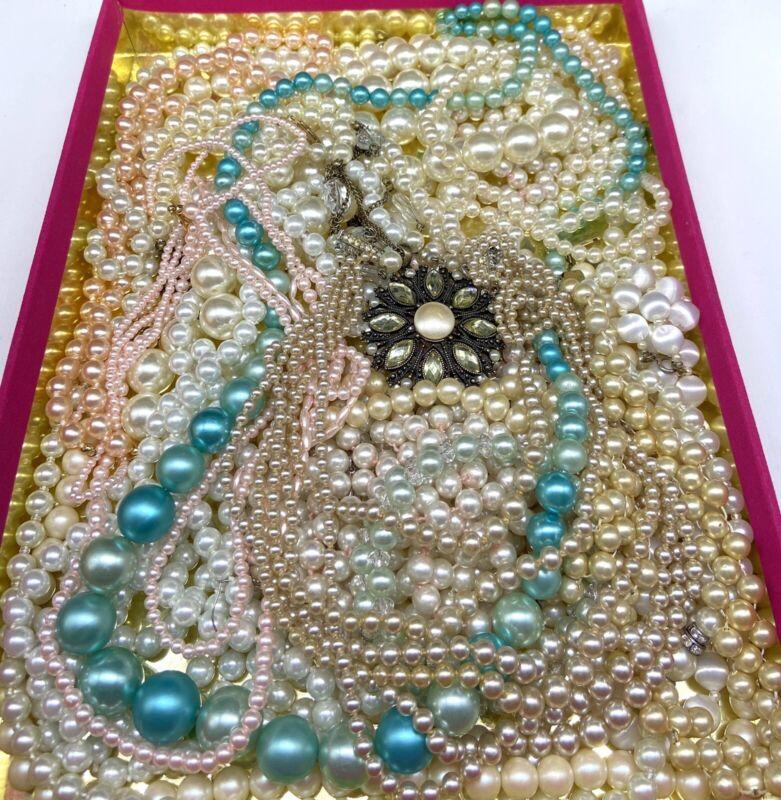 2 LBS Broken Faux Pearl Beaded Jewelry Pearls Craft Repurpose Design Upcycle Art
