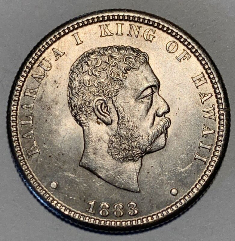 Beautiful Genuine Brilliant Uncirculated 1883 Hawaii Quarter Dollar Silver Coin