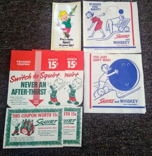 FIVE Vintage SQUIRT SODA ITEMS.....Decal, Napkins, & Bottle Hangers.. NOS & MINT