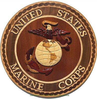 MARINE CORPS EMBLEM - USMC PLAQUE - Handcrafted Wood Art Military Plaque - Handcrafted Wood Plaque
