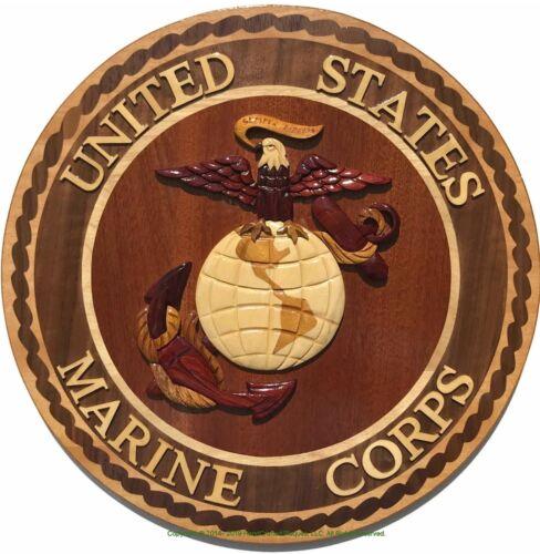 MARINE CORPS EMBLEM - USMC PLAQUE - Handcrafted Wood Art Military Plaque