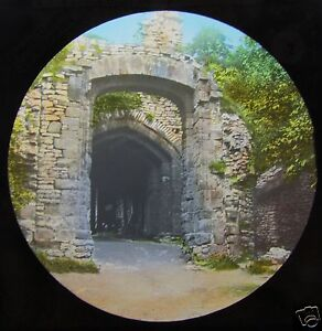 Glass-Magic-lantern-slide-DUDLEY-TO-WARWICK-NO-2-C1890-DUDLEY-CASTLE-GATE
