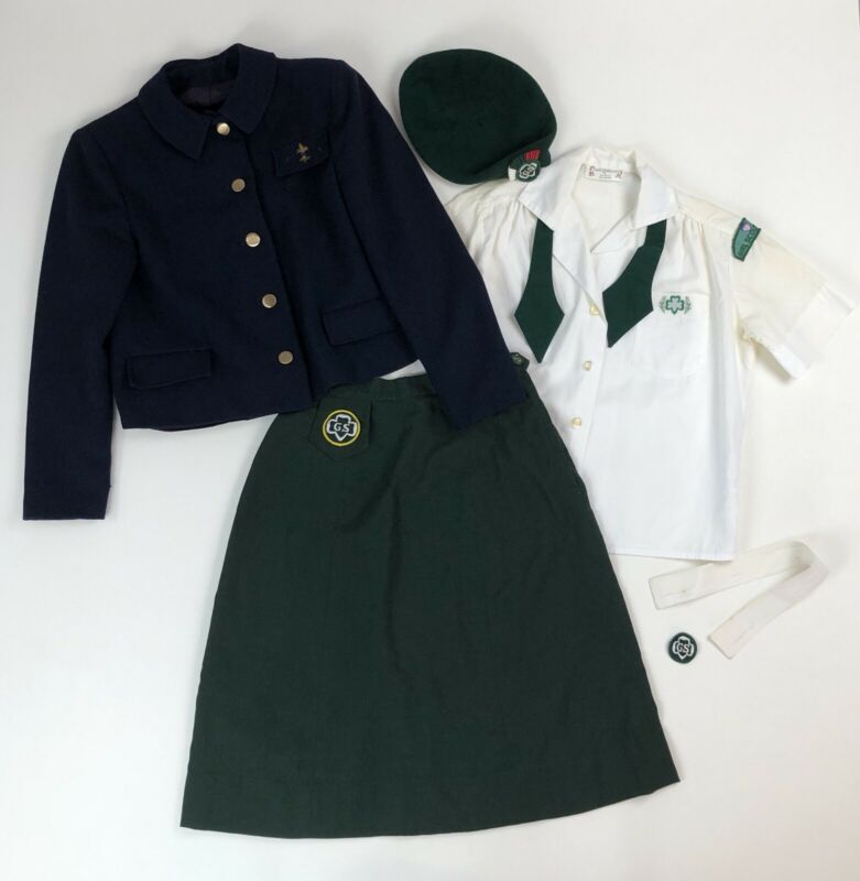 Vtg Girl Scout Outfit S/S Shirt w/Collar Skirt Hat Patches + Period Club Jacket