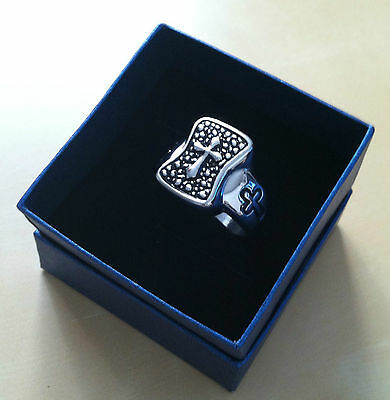 Qvc Mens Stainless Steel Ring Silver Cross Size 11