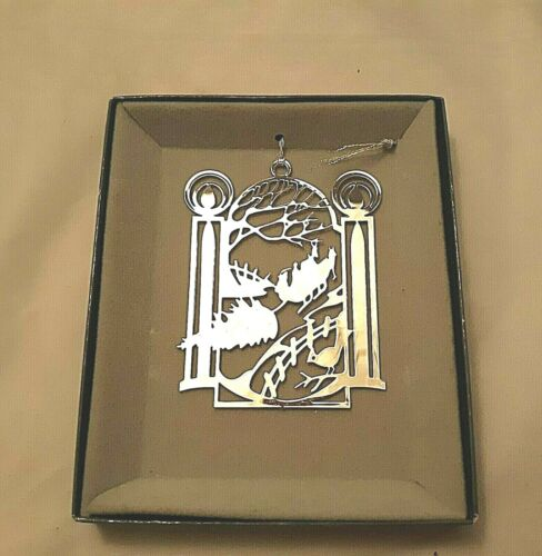 """LUNT Silver Plate Christmas Tree Ornament Winter Scene with Sleigh 3"""" x 2 1/4"""""""