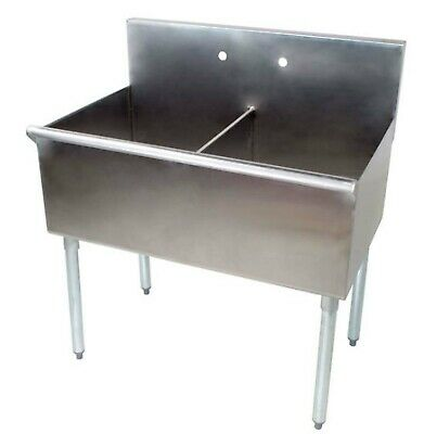 Stainless Steel Commercial Utility Prep Two Sink 36 2 Compartment 18 X 21 X14