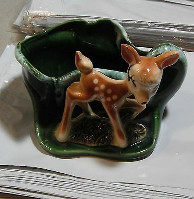 Vintage Bambi Planter Very Cute Green Drip 1940's