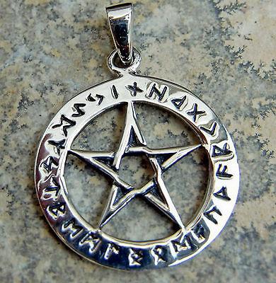 Schutzamulett Pentagramm Anhänger 925er Silber Mittelalter Futhark Runenkreis