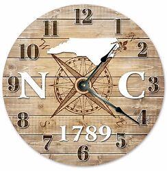 NORTH CAROLINA Established in 1789 COMPASS CLOCK Large 10.5 inch Wall Clock