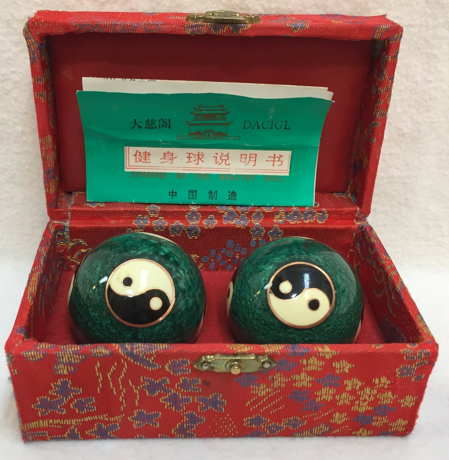 Chinese Iron Balls Stress Relaxation Health Exercise Green Yin Yang Dacige