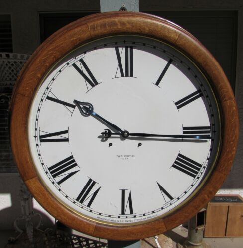 "HUGE! SETH THOMAS Wall Regulator CLOCK, w/ 32"" Repro Step Gallery Case, 24"" Dial"