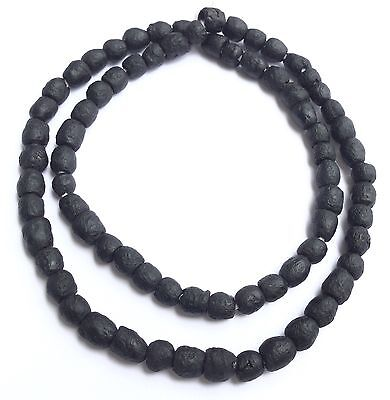 African Ghana matte black recycled glass trade beads