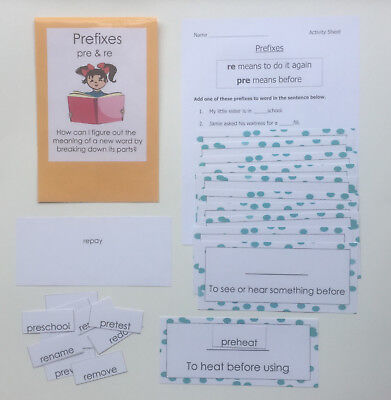 Teacher Made Literacy Center Vocabulary Learning Resource Game Prefixes pre & - Prefix Game