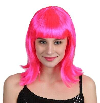 Halloween Costumes With Pink Wigs (Women's Long Straight Pink Flip Wig with Bangs Halloween Costume Accessory)