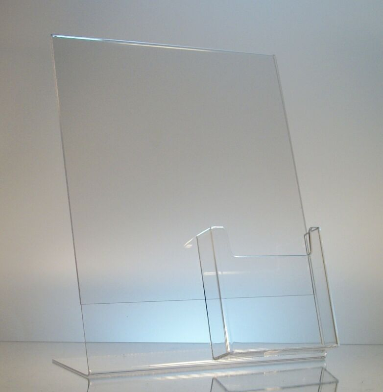 50 Acrylic 8.5x11 Slanted Picture Frames with 4x9 Tri-Fold Brochure Holder