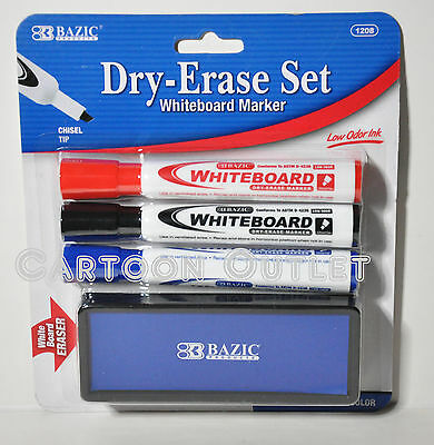 DRY ERASE MARKER SET WHITE BOARD ERASER BAZIC NIP QUALITY CHISEL TIP WHITE BOARD