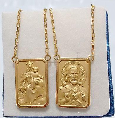 18k Scapular Gold Lady Carmel with heart  of Jesus Medium Chain 2mm 7gr