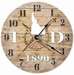 IDAHO Established in 1890 COMPASS CLOCK Large 10.5 inch Wall Clock