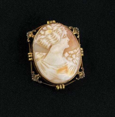 Vintage Cameo Brooch Pendant Lady Bust Shell Gold filled Bezel