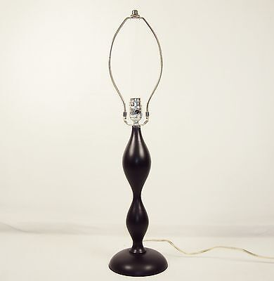 (Table/Desk Lamp ~ Black Satin Lacquer Turned Wood Column (No Shade) #2840420)