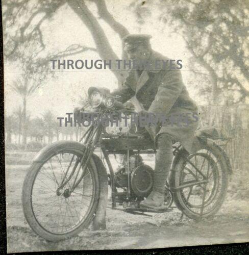 2 Original WWI photos RNAS dispatch Douglas ? motorcycles motorbikes Egypt 1916