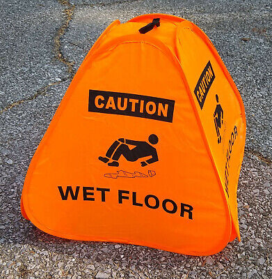 15 Inch Orange Caution Wet Floor Pop Up Cone Collapsible - Single Cone -