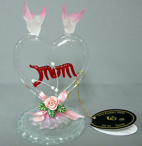 New-Hand-Sculpted-Mom-Dove-Glass-22-Karat-Gold-Figurine-2-Doves-Heart-Rose