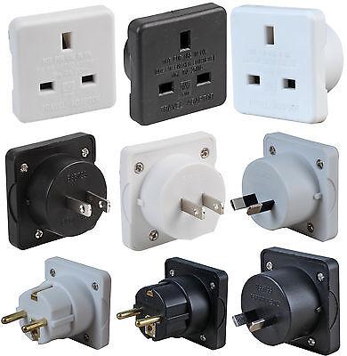 Twin Pack Travel Plug UK to EU Europe USA Australia Mains Plug Convert Adapter
