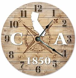CALIFORNIA Established in 1850 COMPASS CLOCK Large 10.5 inch Wall Clock