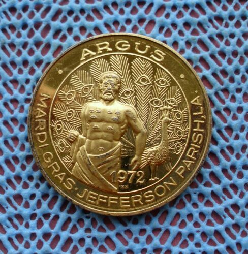 1984 Krewe of ARGUS / Remember When .999 FINE SILVER Gold Plated Doubloon