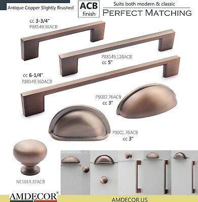 Amdecor Brushed Antique Copper Kitchen Cabinet Pull Cup Handle Knob Closet Bin  Antique Copper Knob