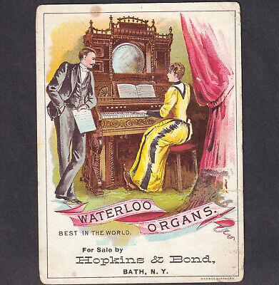 Bath NY 1800's Waterloo Organ Hopkins & Bond Music Store Victorian Trade Card