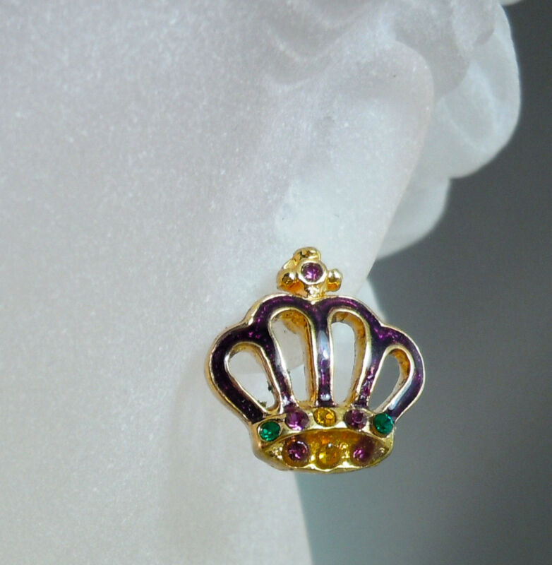 Mardi Gras Crown Earrings  (MGP139)