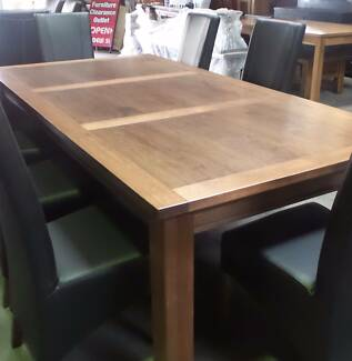 9 PCE DINING SUITE 1200 X 2400 IN OAK FRAME