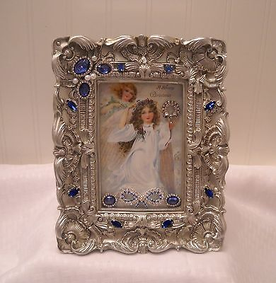 "Framed Jewelry Postcard 1900  Repro-"" Christmas Angels ""  Flower Arrangement"