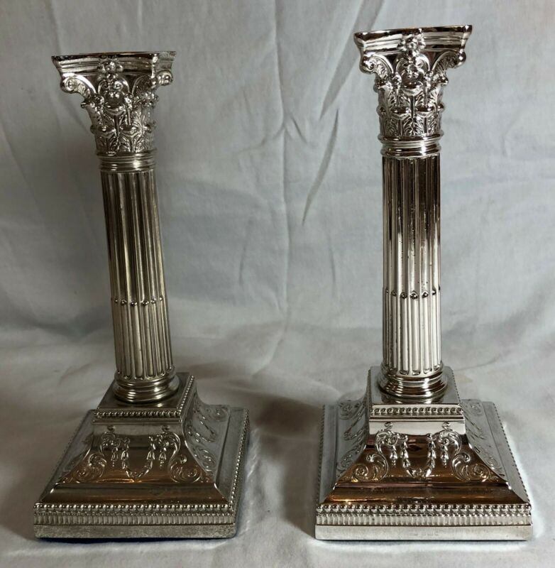 Pair of English Silver Edwardian Candlesticks, Sheffield, 1908