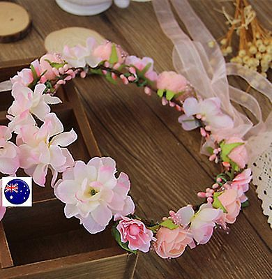 Lady Girl flower Fairy wedding Pink bride Party Hair Headband Crown Prop Garland for sale  Shipping to Canada