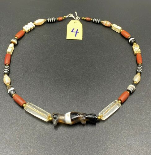 old antique agate beads necklace from south east Asian countries