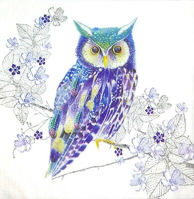 3x Single Paper Napkins For Decoupage Craft Tissue Purple Blue Owl On White M281 (Craft Tissue Paper)