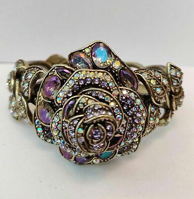 Heidi Daus Enchanted Beauty Multi-colored Rose  Cuff Bracelet NWT SM/MED ()