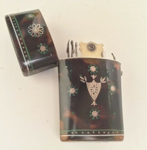 Antique  Faux  Tortoise Etui w a Touch of Green and Silver Pique
