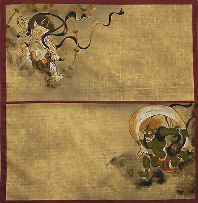Furoshiki Japanese Fabric Cloth 'Fujin & Raijin' w/Red Border Cotton 50cm