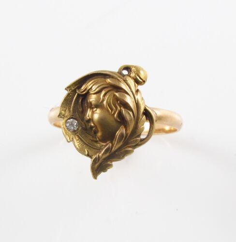 Petite 14k Gold Victorian Art Nouveau Lady Diamond Ring Size 6