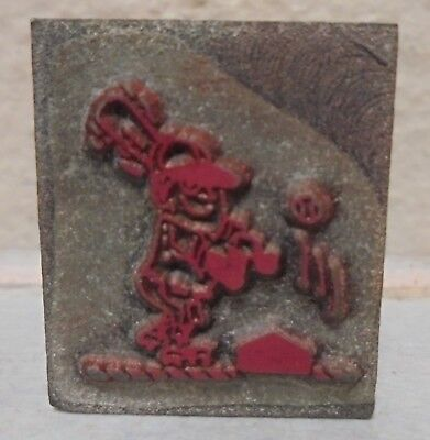 Vintage Printing Letterpress Printers Block Cut Baseball Player Hitting Ball